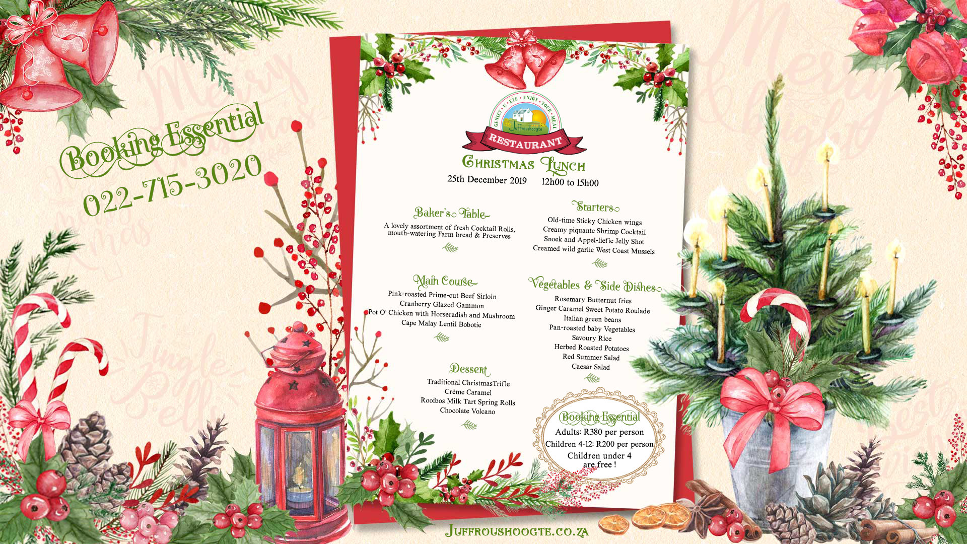 Have a delicious Xmas Lunch at Juffroushoogte